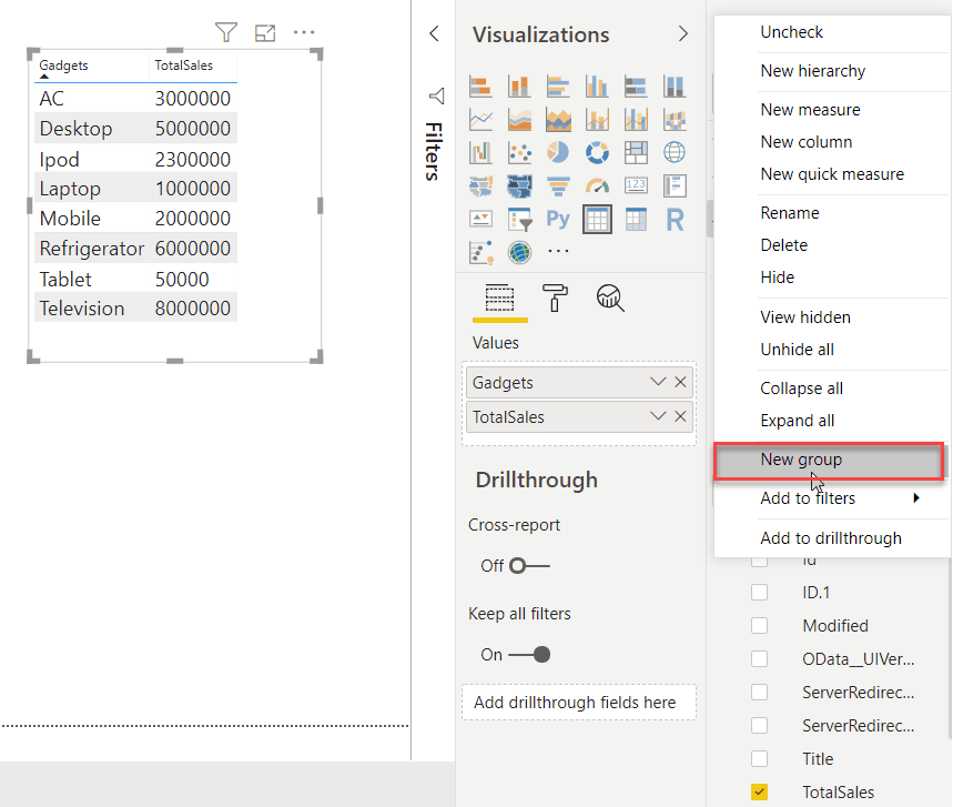 Grouping in Power BI Desktop without using DAX