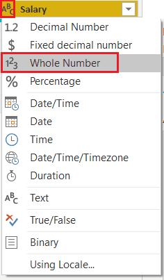 Power bi change data type of a column