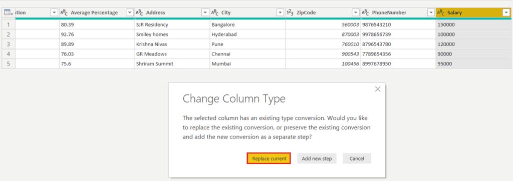 change data type of column in power bi