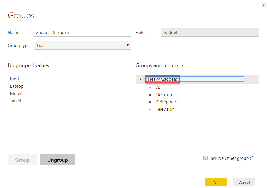 group in power bi desktop without using dax
