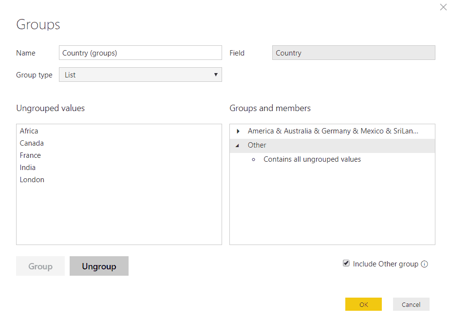 how to create a group in power bi desktop