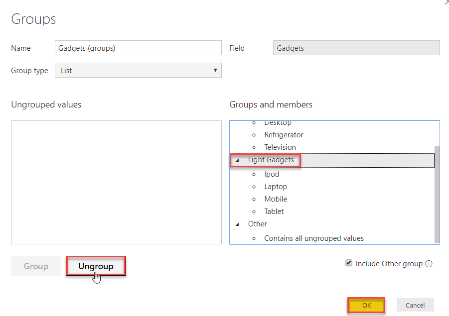 how to create group in power bi desktop without use dax