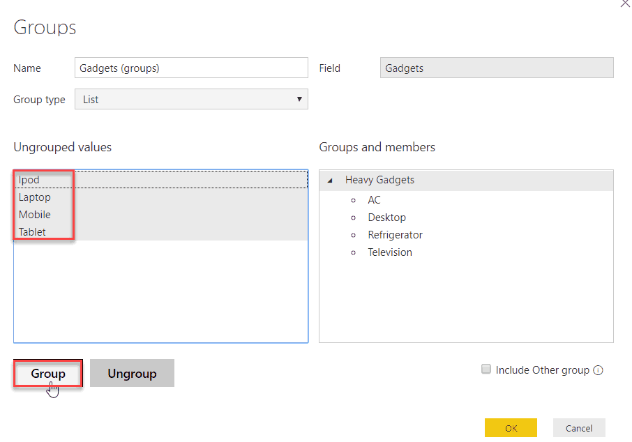 power bi desktop group without using dax