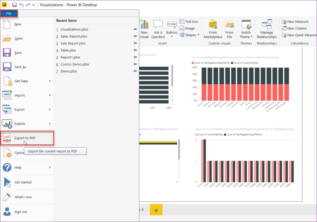 power bi desktop report export to pdf