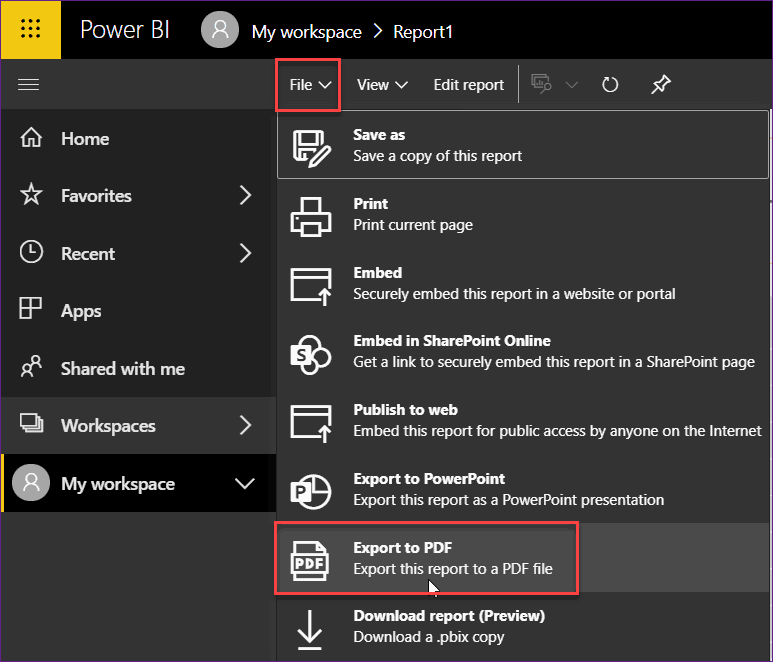 power bi service export to pdf