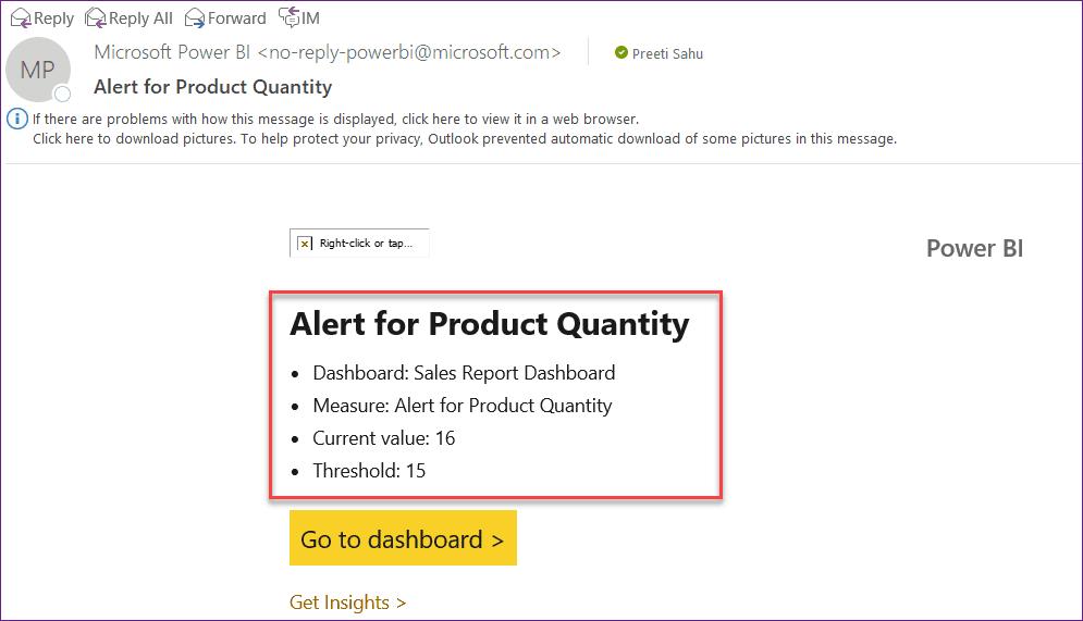 powerbi setup alerts