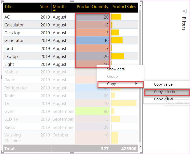 copy multiple values in power bi table