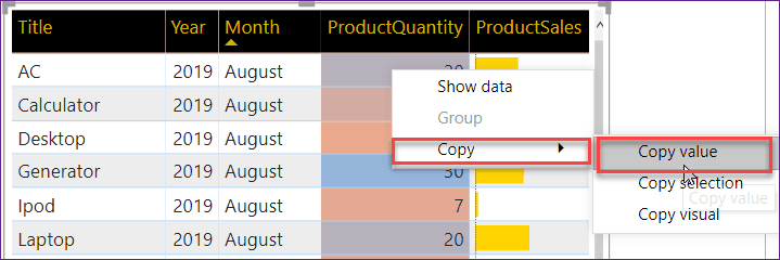 copy value in power bi table