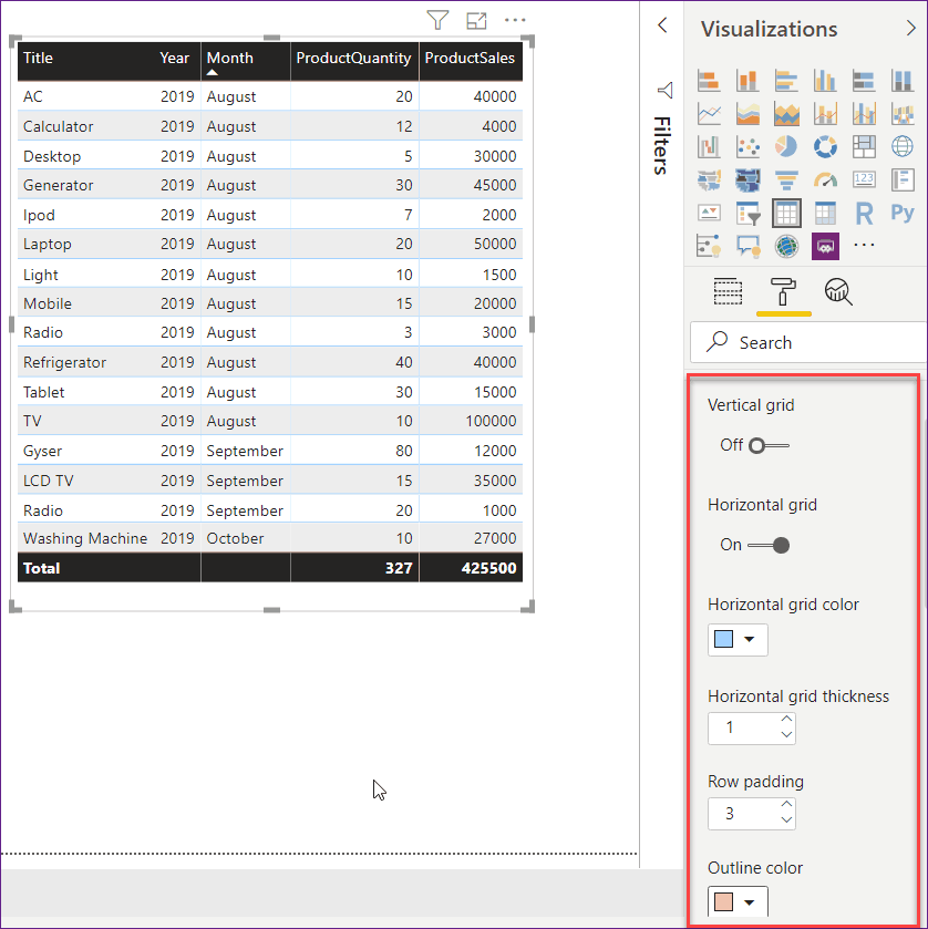 create table visualization in Power bi