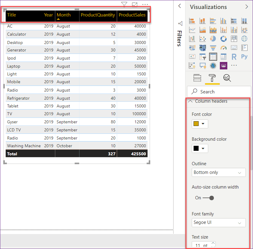 how to use table visualization in power bi