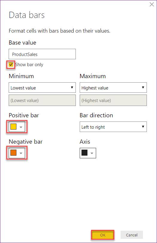 table formatting Power bi desktop