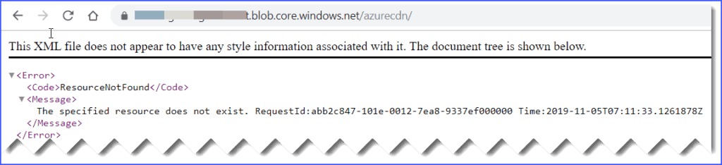 the specified resource does not exist azure blob