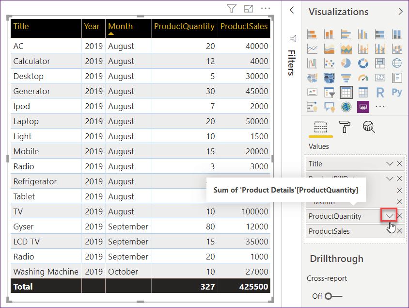 use table visualization in power bi desktop