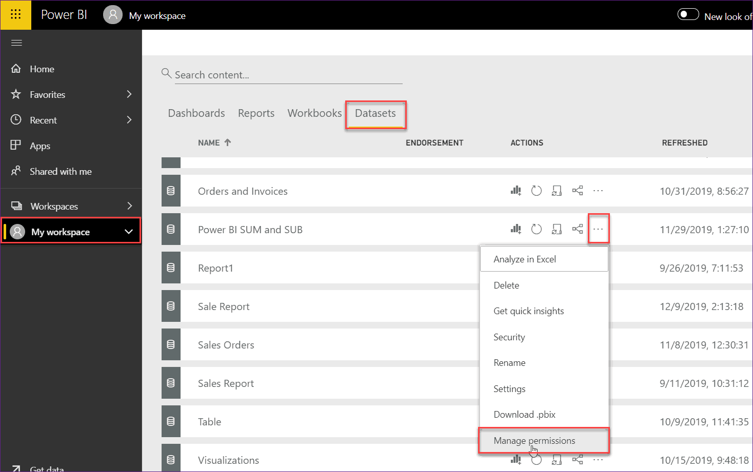 power bi shared dataset permissions