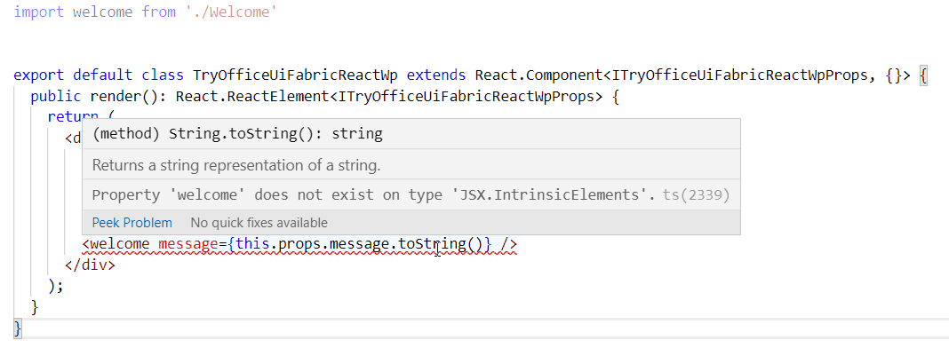 Property welcome does not exist on type 'JSX.IntrinsicElements'