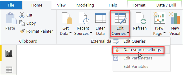 how to change data source in power query 2016