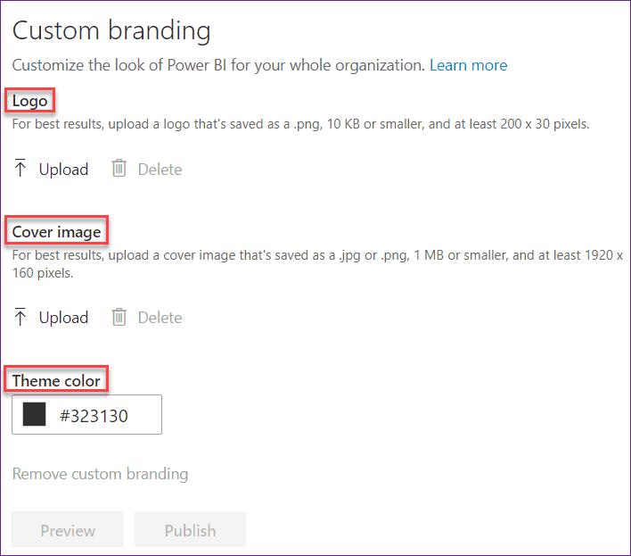 power bi admin portal custom branding