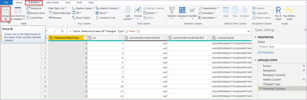 power bi query editor distinct count