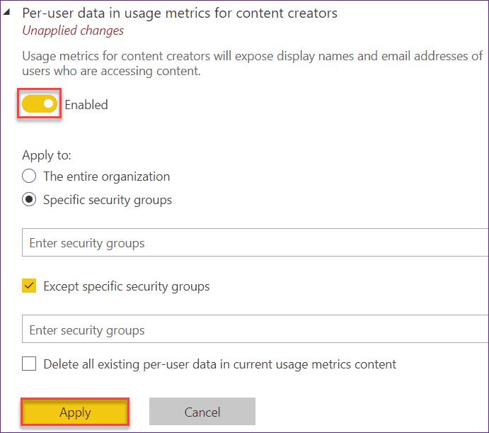 report usage metrics