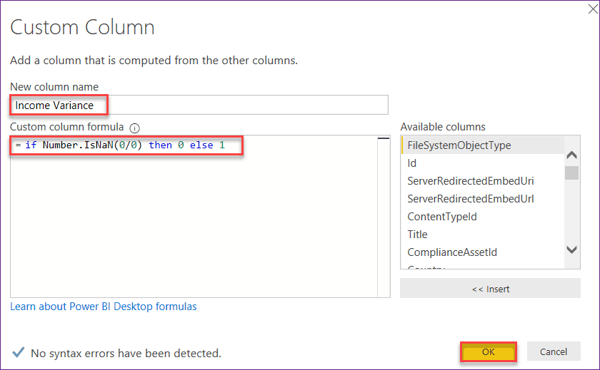 what does nan in power bi mean