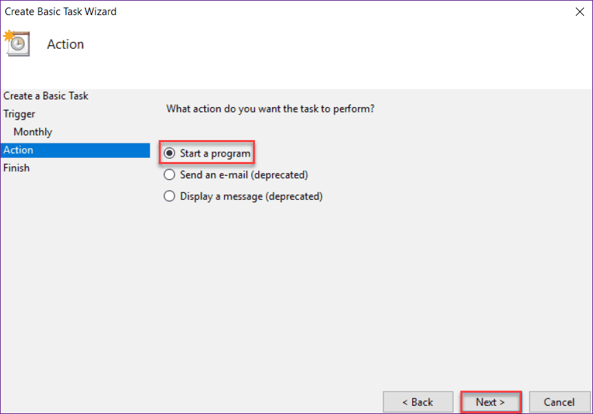Automated Task using Task Scheduler on Windows 10