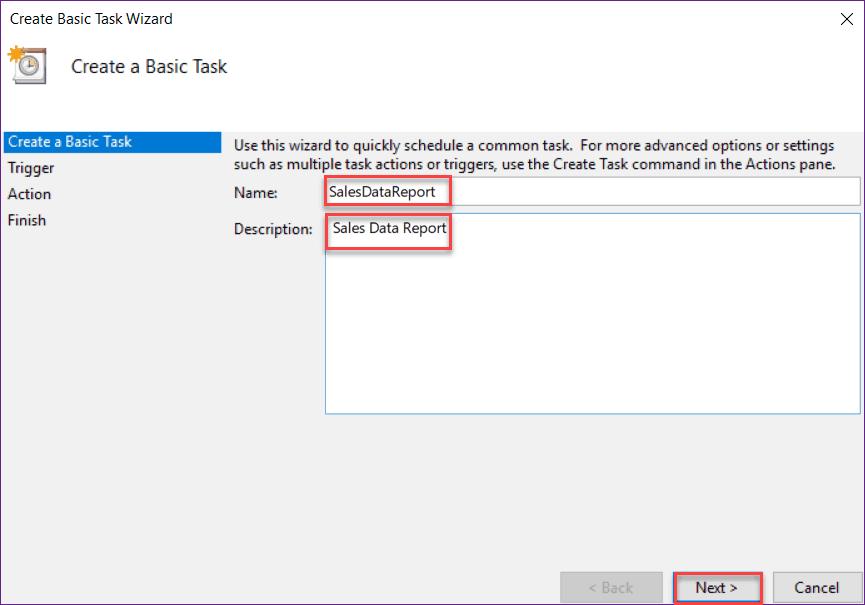 create a task scheduler in windows 10