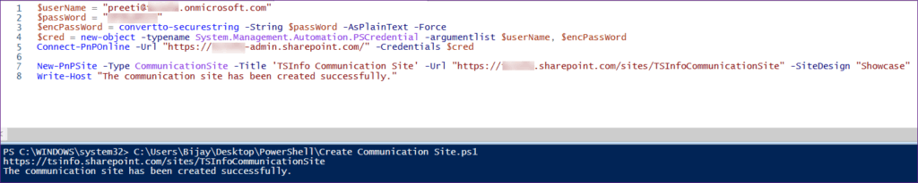 Create a Communication Site Using PnP PowerShell