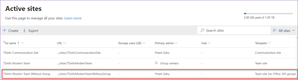create a modern team site without an office 365 group