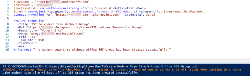 sharepoint create modern team site without group pnp powershell