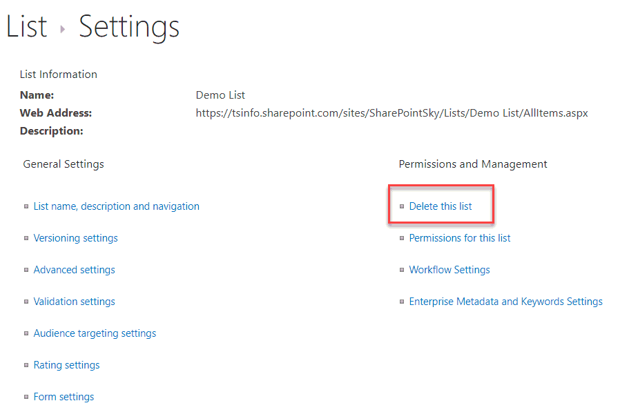 Delete a SharePoint List