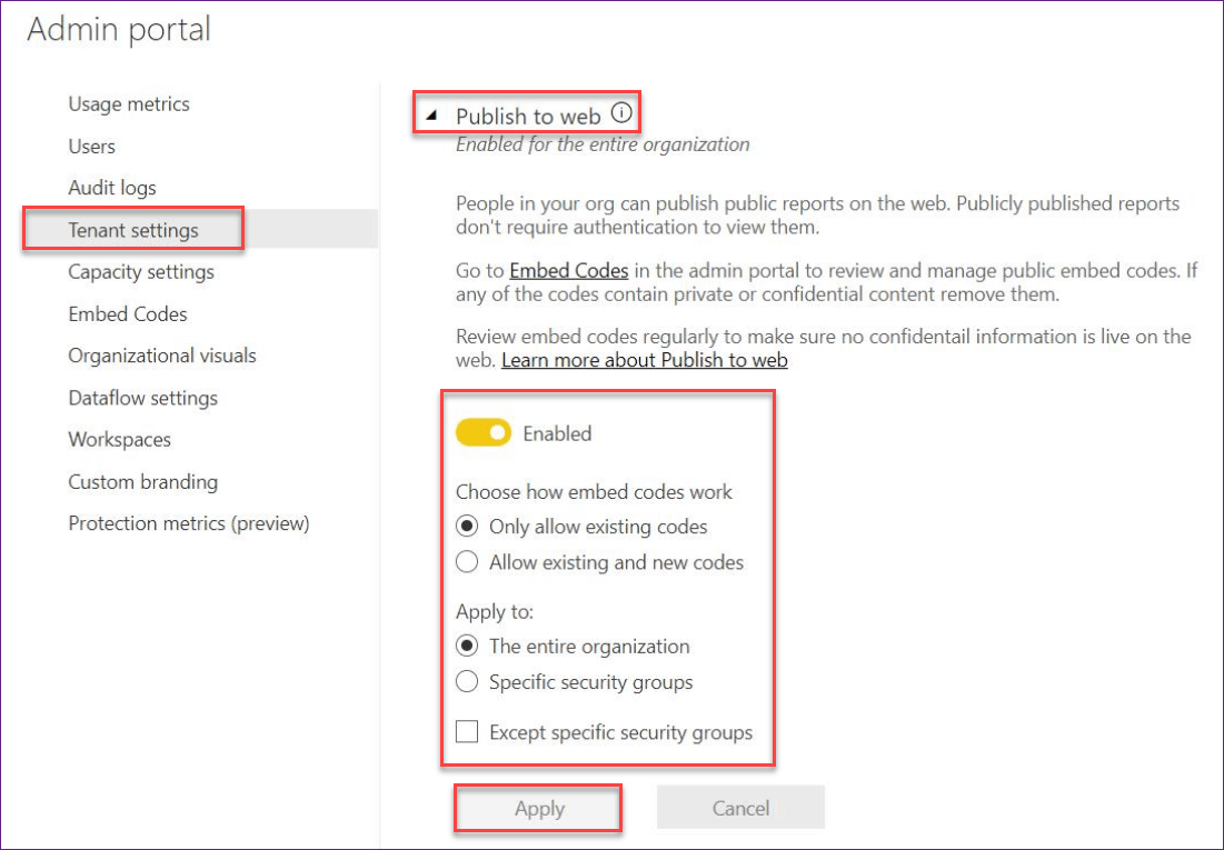 contact your admin to enable embed code creation power bi