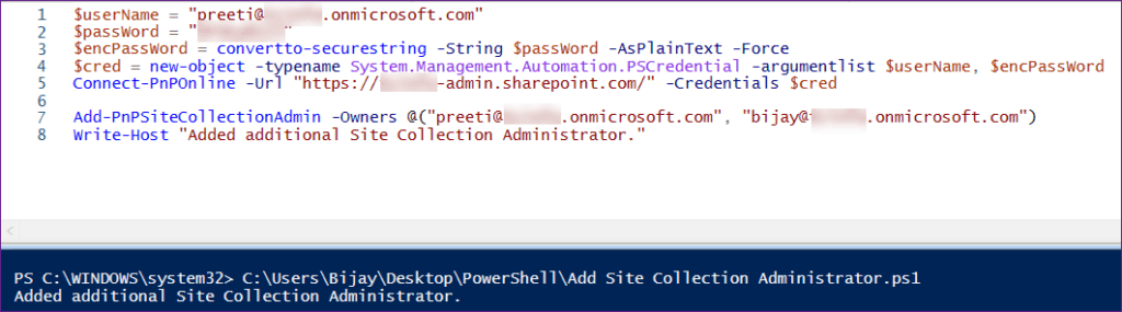 pnp powershell add user as site collection administrator