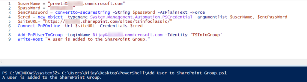 Add User to SharePoint Group Using PnP PowerShell