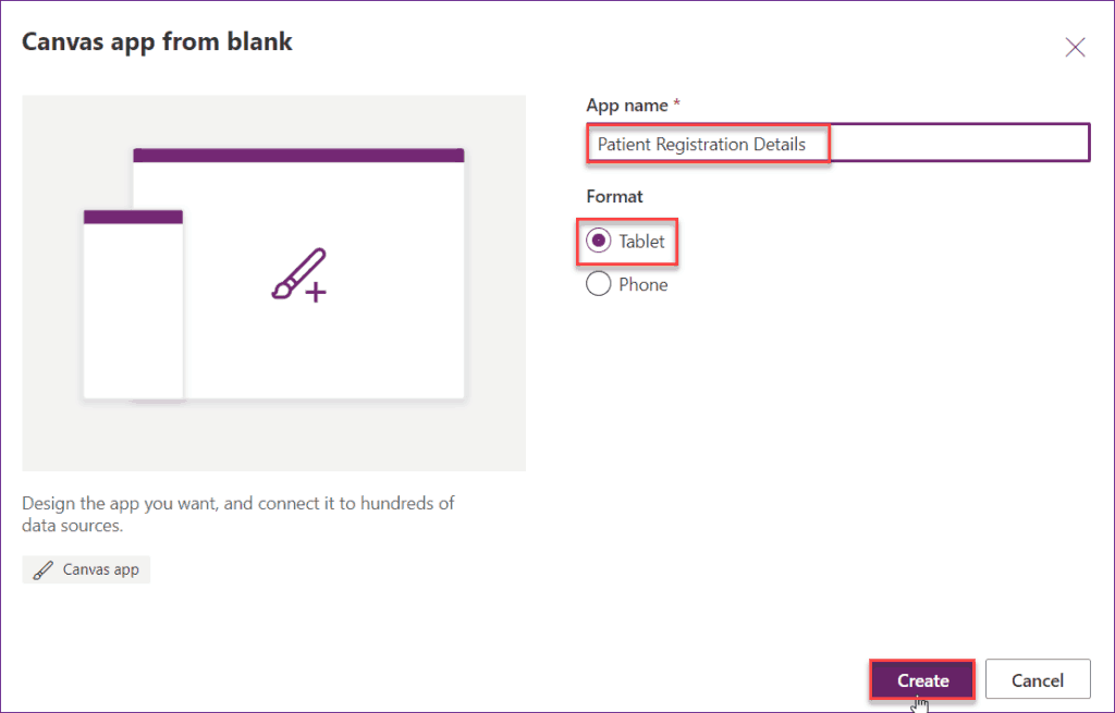 Create Canvas app from SharePoint List in Power Apps