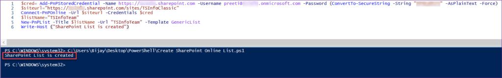 Create SharePoint Online List using PnP PowerShell