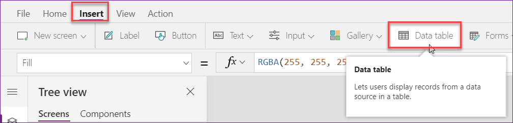 Create a Data Table from Excel Data using PowerApps