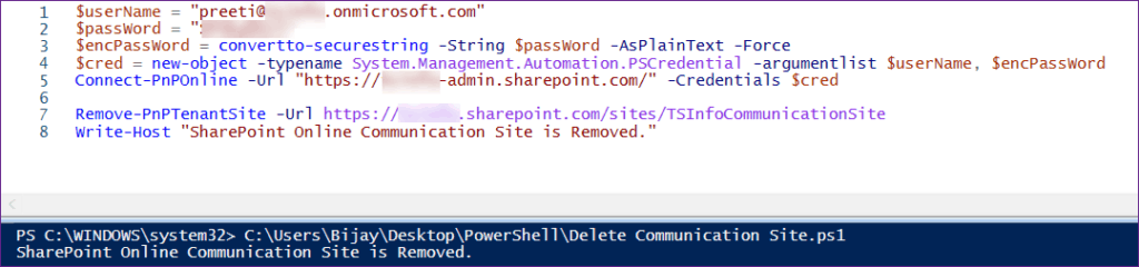 Delete a SharePoint Communication Site Using PnP PowerShell