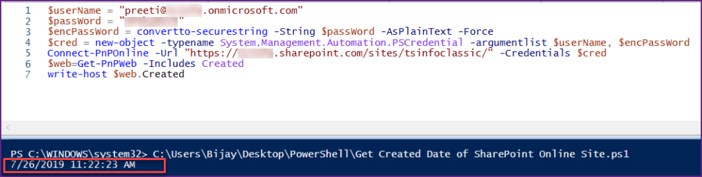 Get Created Date of SharePoint Online Site Using PnP PowerShell