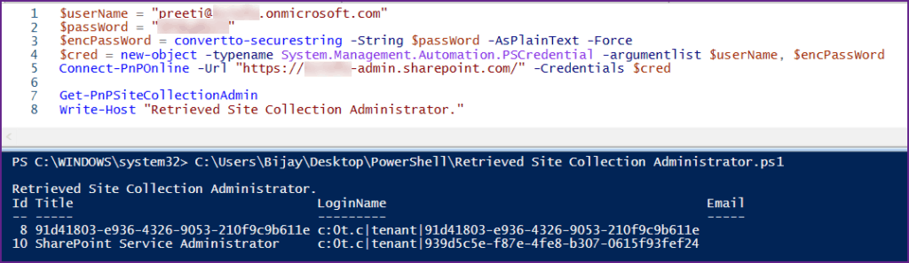Get Site Collection Administrator SharePoint Online Using PnP PowerShell