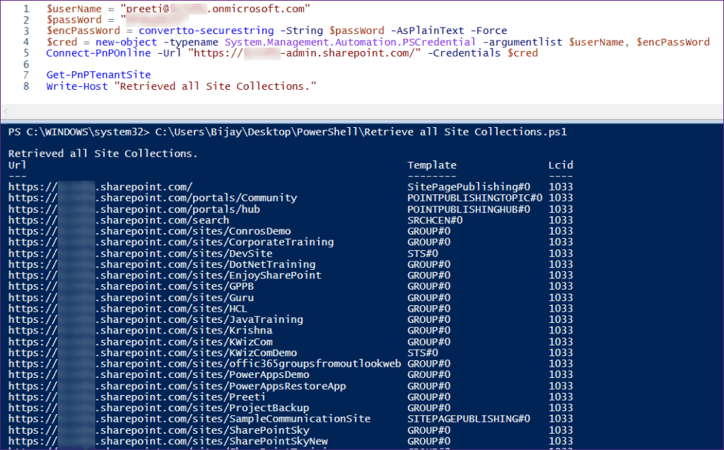 Get all Site Collections in SharePoint Online Using PnP PowerShell
