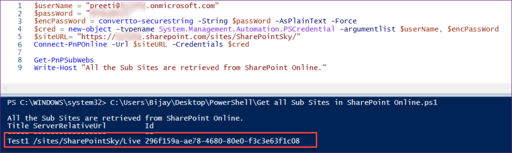 Get all Sub Sites in SharePoint Online Using PnP PowerShell