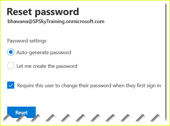 How to reset password of a Office 365 user