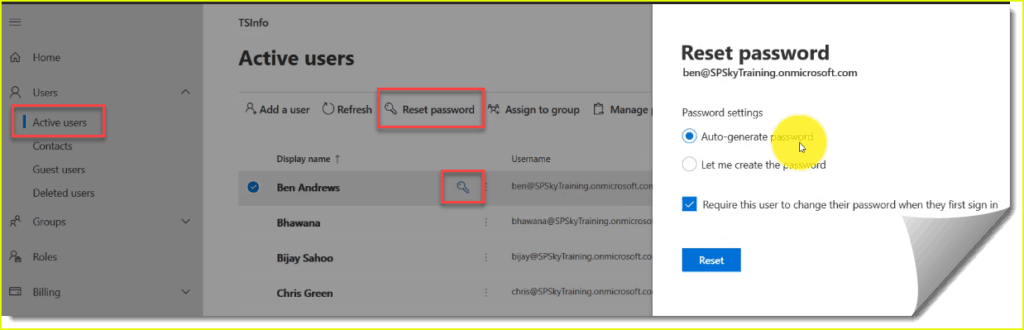 How to reset the password of a user in Office 365
