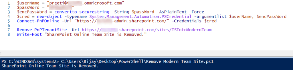 Remove SharePoint Modern Team Site using PnP PowerShell