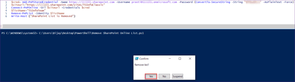 Remove SharePoint Online List using PnP PowerShell