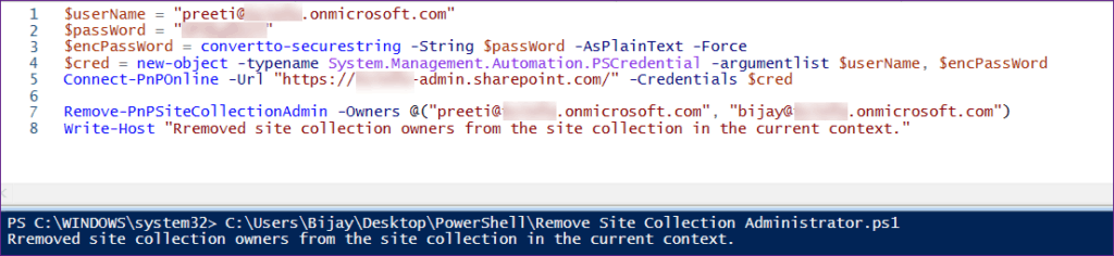 Remove Site Collection Administrator SharePoint Online Using PnP PowerShell