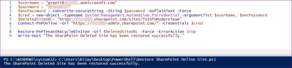 Restore SharePoint Online Site Using PnP PowerShell