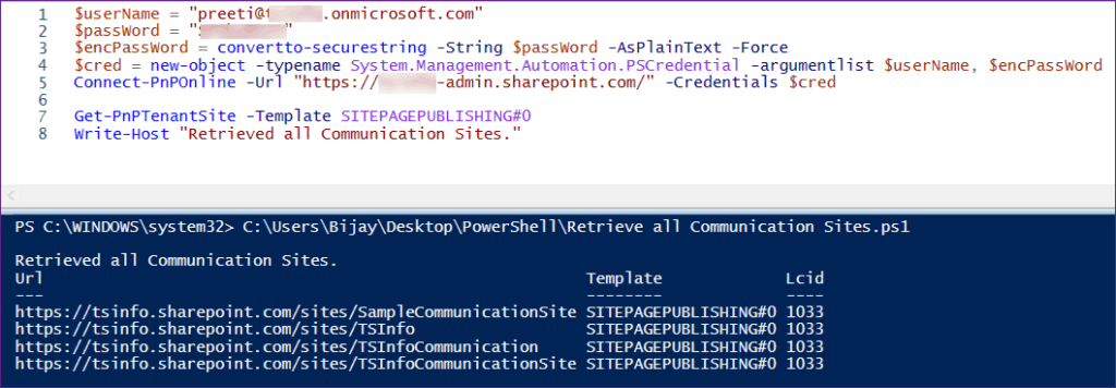 get all communication sites using pnp powershell