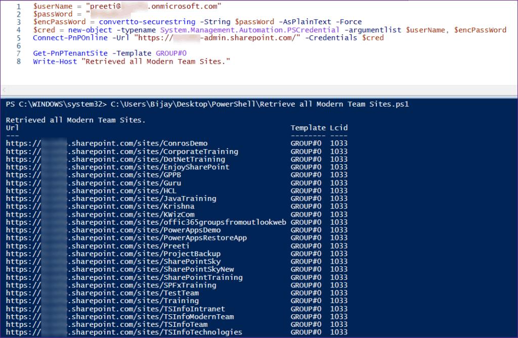 Retrieve all Modern Team Sites Using PnP PowerShell