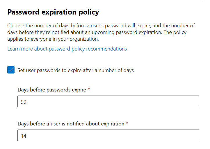 Set password policy for all users in your organization office 365